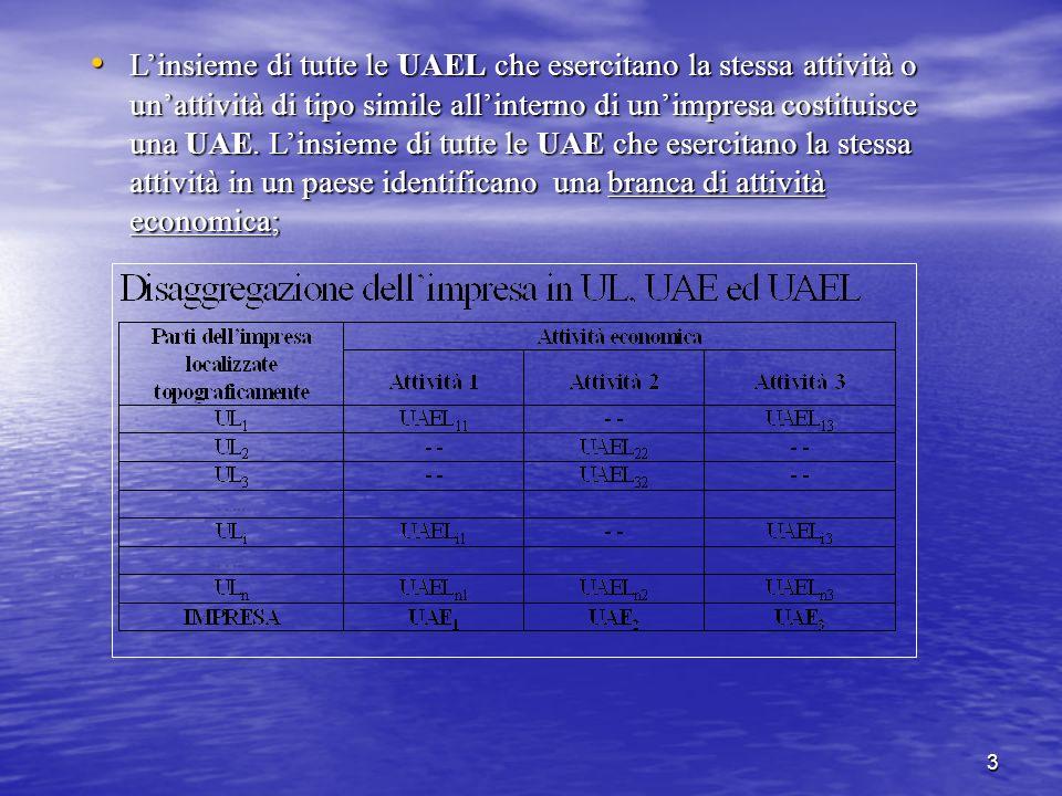 3 Linsieme di tutte le UAEL che esercitano la stessa attività o unattività di tipo simile allinterno di unimpresa costituisce una UAE. Linsieme di tut