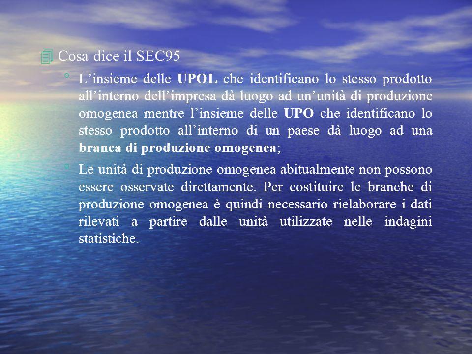 4Cosa dice il SEC95 Linsieme delle UPOL che identificano lo stesso prodotto allinterno dellimpresa dà luogo ad ununità di produzione omogenea mentre l