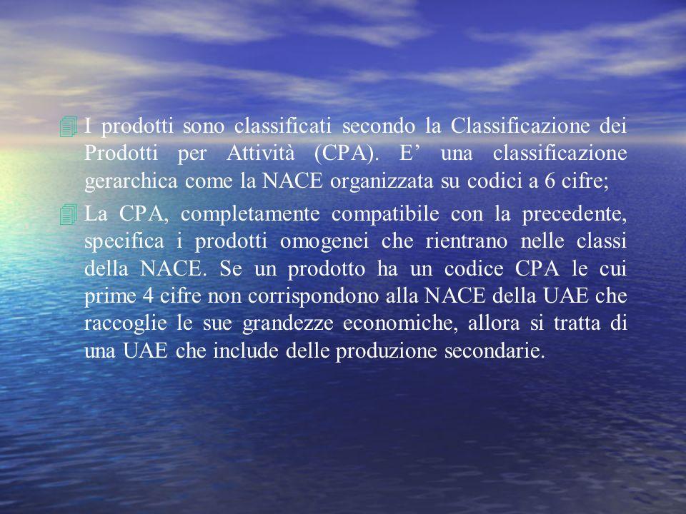 4I prodotti sono classificati secondo la Classificazione dei Prodotti per Attività (CPA). E una classificazione gerarchica come la NACE organizzata su