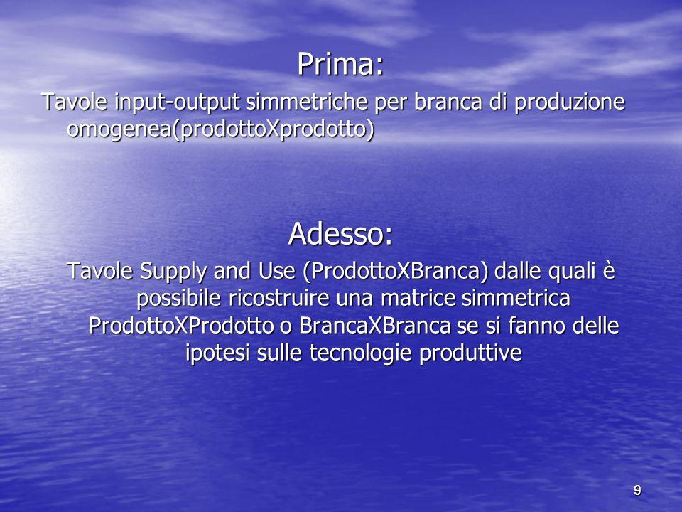9 Prima: Tavole input-output simmetriche per branca di produzione omogenea(prodottoXprodotto) Adesso: Tavole Supply and Use (ProdottoXBranca) dalle qu