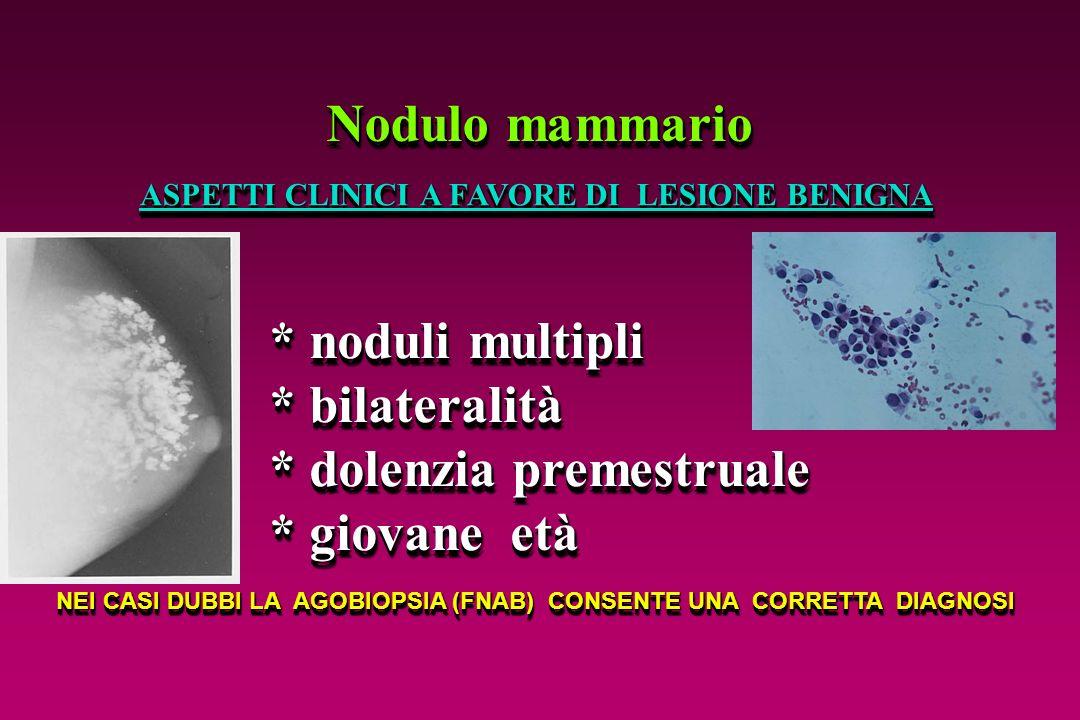 Nodulo mammario * noduli multipli * bilateralità * dolenzia premestruale * giovane età * noduli multipli * bilateralità * dolenzia premestruale * giov