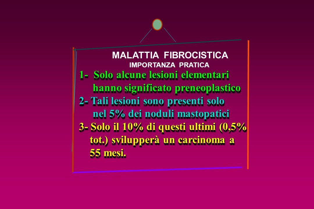 MALATTIA FIBROCISTICA IMPORTANZA PRATICA 1- Solo alcune lesioni elementari hanno significato preneoplastico hanno significato preneoplastico 2- Tali l