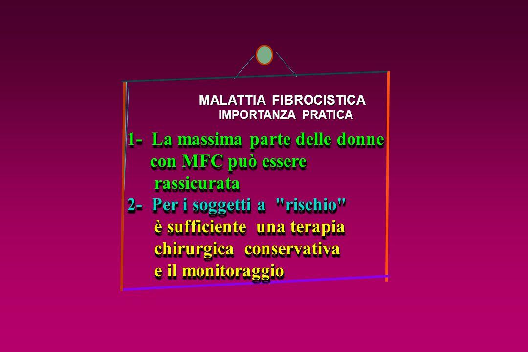MALATTIA FIBROCISTICA MALATTIA FIBROCISTICA IMPORTANZA PRATICA IMPORTANZA PRATICA 1- La massima parte delle donne con MFC può essere con MFC può esser