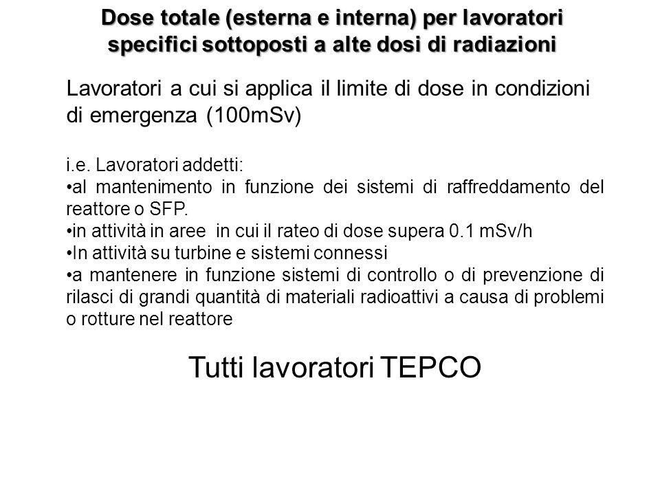 Dose totale (esterna e interna) per lavoratori specifici sottoposti a alte dosi di radiazioni Lavoratori a cui si applica il limite di dose in condizi