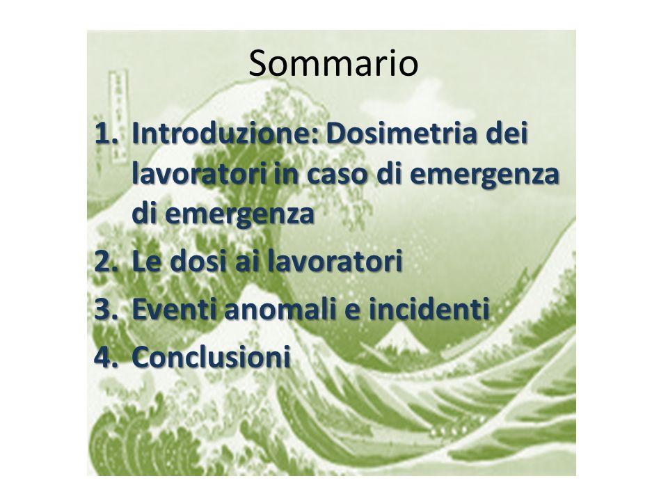 Sommario 1.Introduzione: Dosimetria dei lavoratori in caso di emergenza di emergenza 2.Le dosi ai lavoratori 3.Eventi anomali e incidenti 4.Conclusion