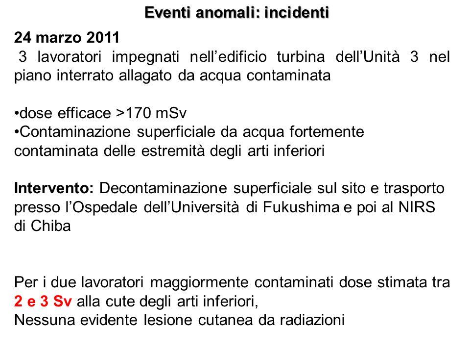 Eventi anomali: incidenti 24 marzo 2011 3 lavoratori impegnati nelledificio turbina dellUnità 3 nel piano interrato allagato da acqua contaminata dose