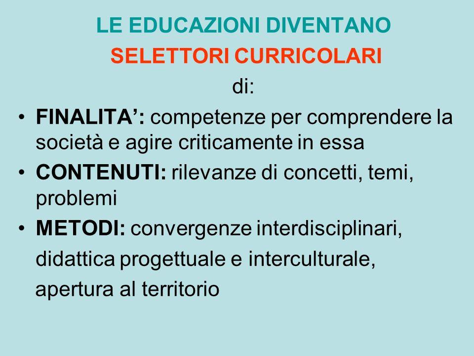 LE EDUCAZIONI DIVENTANO SELETTORI CURRICOLARI di: FINALITA: competenze per comprendere la società e agire criticamente in essa CONTENUTI: rilevanze di