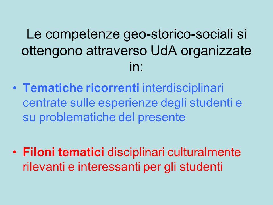 Le competenze geo-storico-sociali si ottengono attraverso UdA organizzate in: Tematiche ricorrenti interdisciplinari centrate sulle esperienze degli s