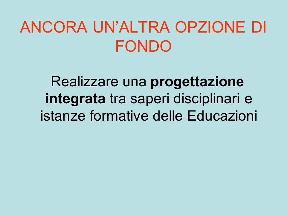 ANCORA UNALTRA OPZIONE DI FONDO Realizzare una progettazione integrata tra saperi disciplinari e istanze formative delle Educazioni