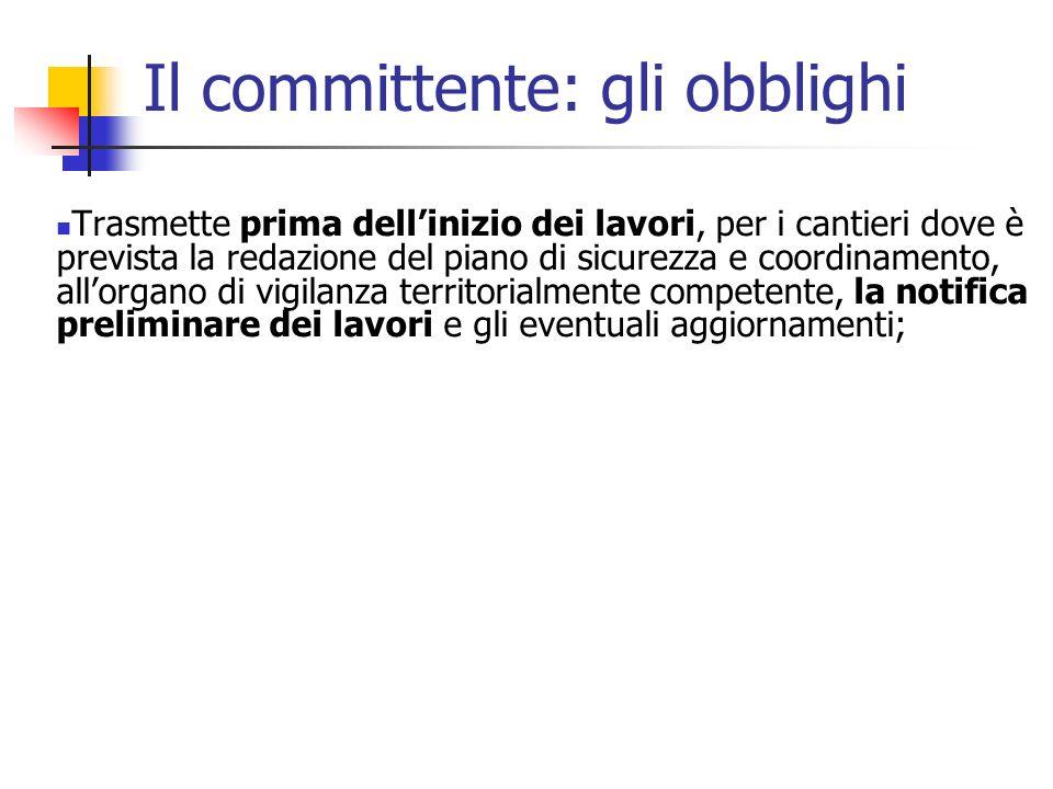 La notifica preliminare - contenuti 1.data della comunicazione 2.
