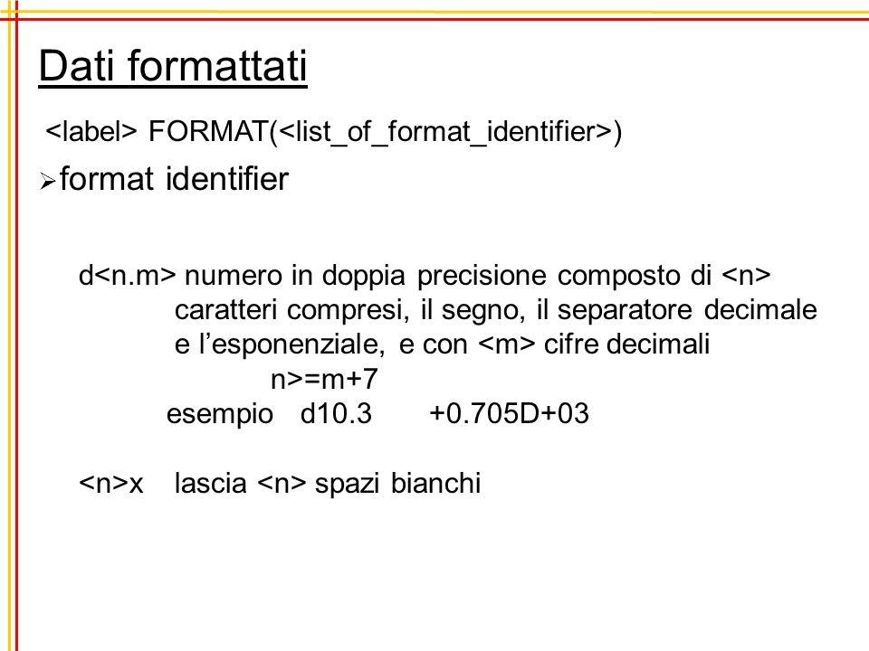 Dati formattati FORMAT( ) format identifier d numero in doppia precisione composto di caratteri compresi, il segno, il separatore decimale e lesponenziale, e con cifre decimali n>=m+7 esempio d10.3 +0.705D+03 x lascia spazi bianchi