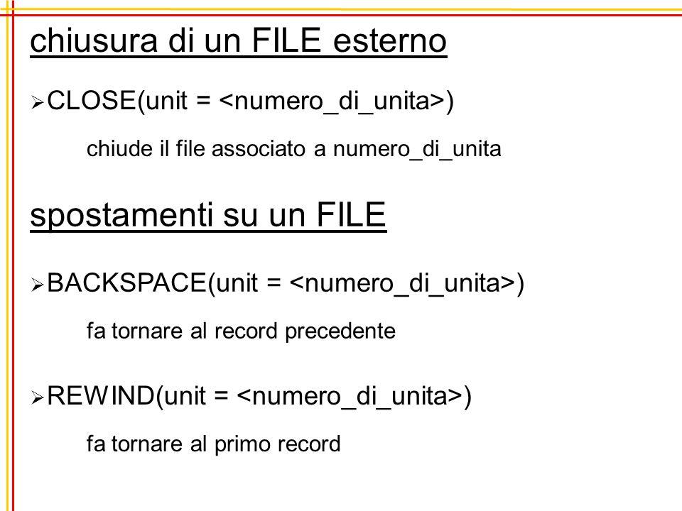 READ e WRITE senza formato lettura e scrittura con formattazione standard READ(, * ) WRITE(, * ) READ( 1, * ) a,c,d WRITE( *, * ) a,c,d,