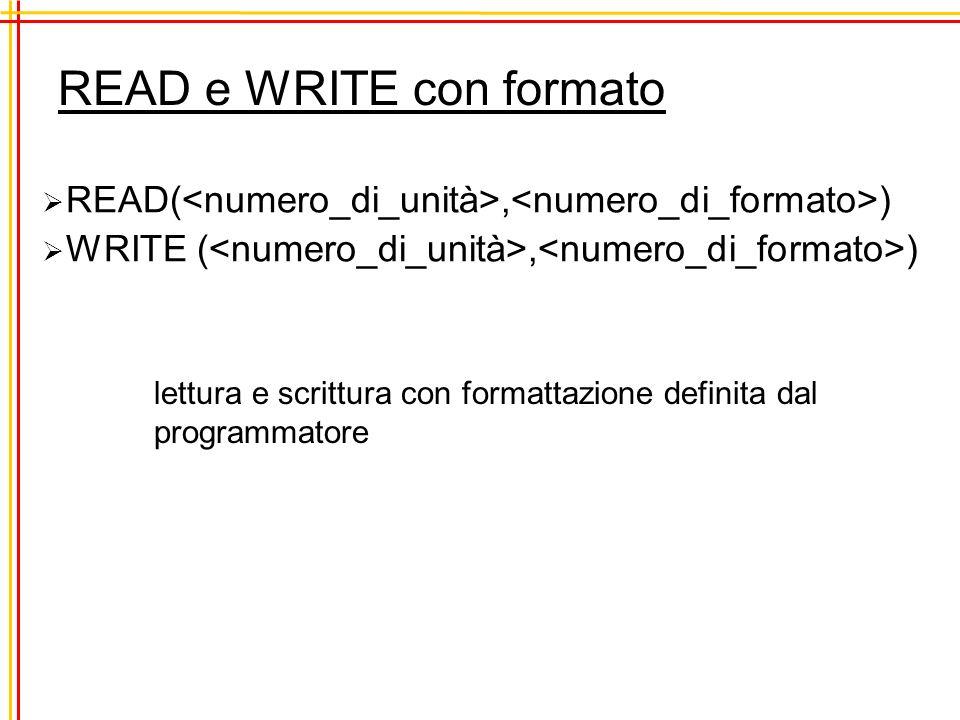 Dati formattati FORMAT( ) format identifier i intero con cifre compreso il segno a stringa composta da caratteri alafanumerici f numero composto di caratteri, compresi il segno e il separatore decimale, e con cifre decimali n >= m+2 esempio f7.3 -70.500