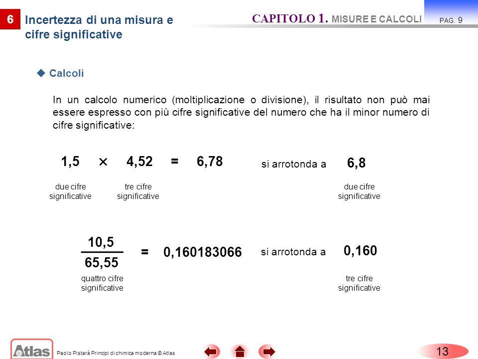 Paolo Pistarà Principi di chimica moderna © Atlas In un calcolo numerico (moltiplicazione o divisione), il risultato non può mai essere espresso con p