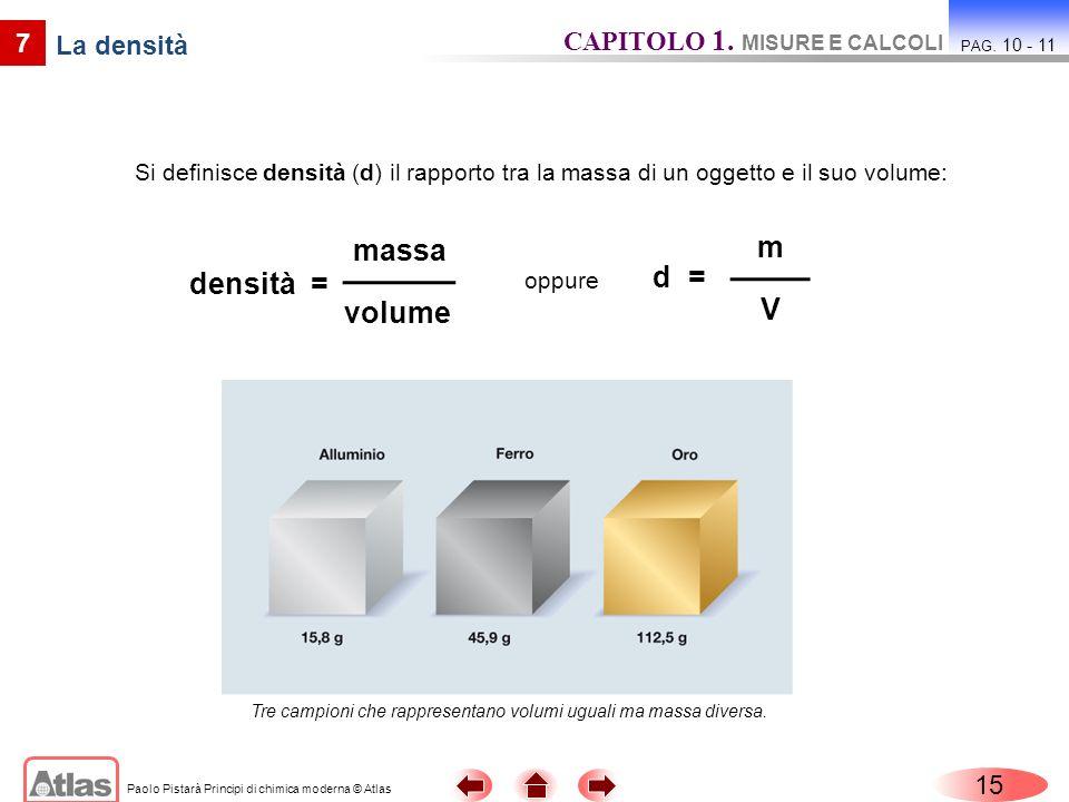 Paolo Pistarà Principi di chimica moderna © Atlas Si definisce densità (d) il rapporto tra la massa di un oggetto e il suo volume: 15 CAPITOLO 1. MISU