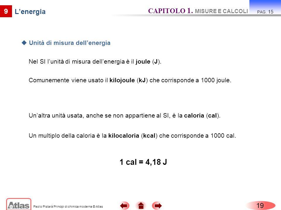 Paolo Pistarà Principi di chimica moderna © Atlas 19 CAPITOLO 1. MISURE E CALCOLI PAG. 15 9 Nel SI lunità di misura dellenergia è il joule (J). Unità