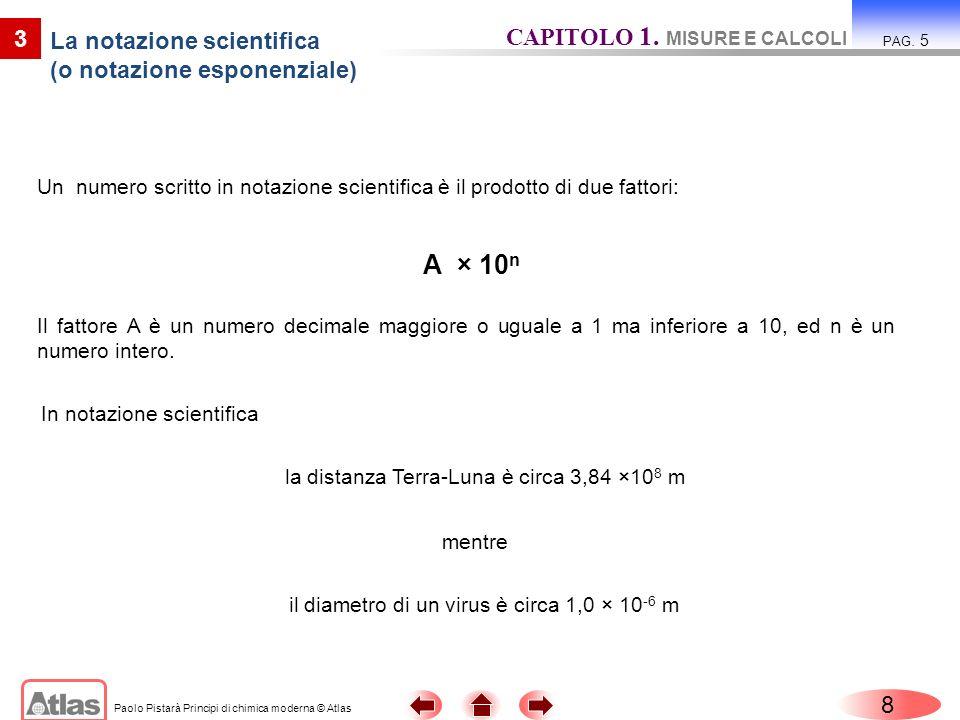 Paolo Pistarà Principi di chimica moderna © Atlas Un numero scritto in notazione scientifica è il prodotto di due fattori: 8 CAPITOLO 1. MISURE E CALC
