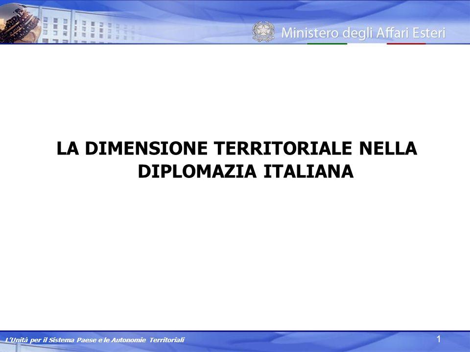 LUnità per il Sistema Paese e le Autonomie Territoriali 1 LA DIMENSIONE TERRITORIALE NELLA DIPLOMAZIA ITALIANA