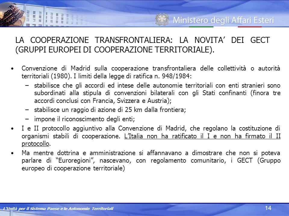 LUnità per il Sistema Paese e le Autonomie Territoriali 14 LA COOPERAZIONE TRANSFRONTALIERA: LA NOVITA DEI GECT (GRUPPI EUROPEI DI COOPERAZIONE TERRITORIALE).