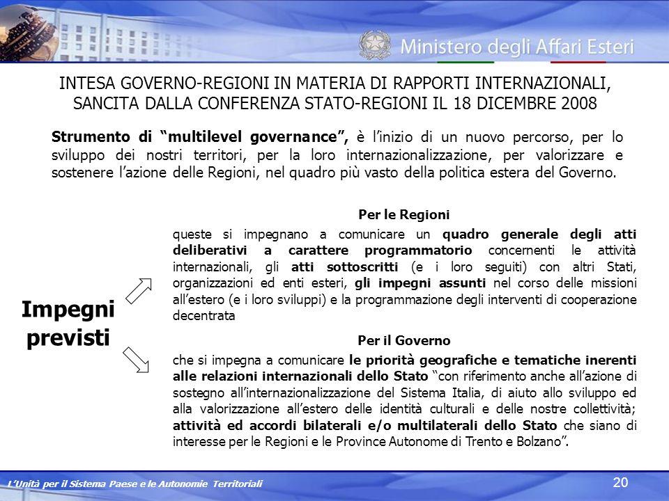 LUnità per il Sistema Paese e le Autonomie Territoriali 20 INTESA GOVERNO-REGIONI IN MATERIA DI RAPPORTI INTERNAZIONALI, SANCITA DALLA CONFERENZA STATO-REGIONI IL 18 DICEMBRE 2008 Strumento di multilevel governance, è linizio di un nuovo percorso, per lo sviluppo dei nostri territori, per la loro internazionalizzazione, per valorizzare e sostenere lazione delle Regioni, nel quadro più vasto della politica estera del Governo.