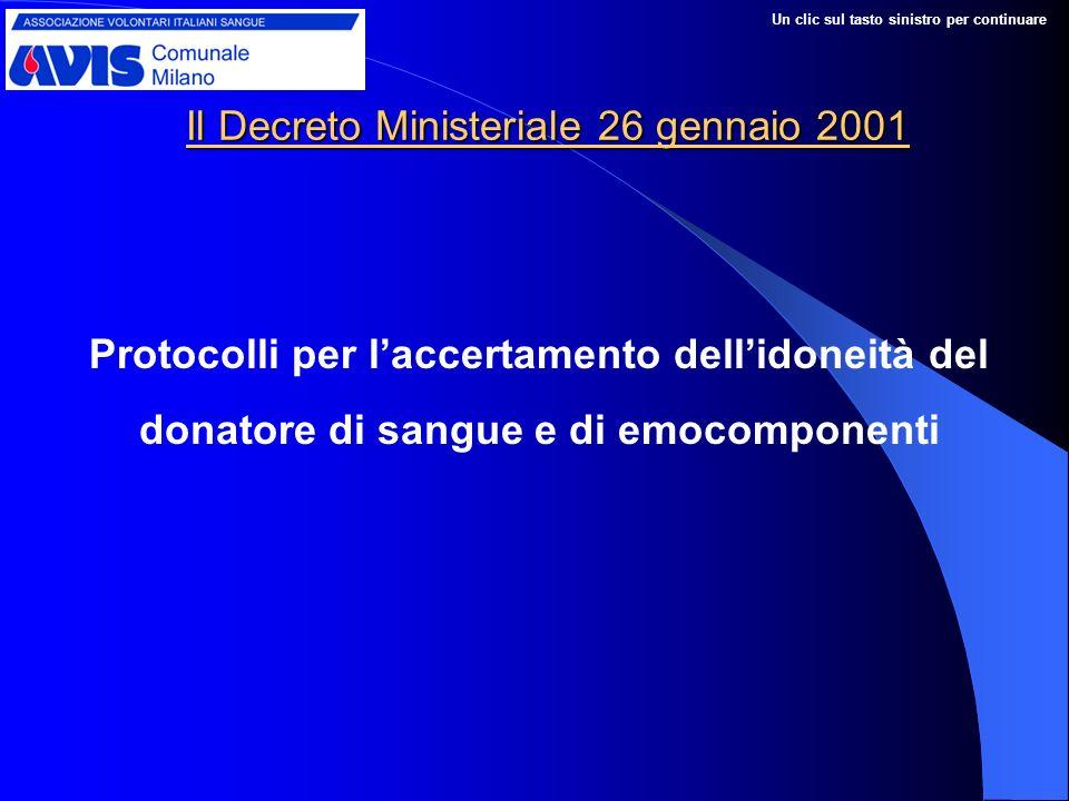 Il Decreto Ministeriale 26 gennaio 2001 Protocolli per laccertamento dellidoneità del donatore di sangue e di emocomponenti Un clic sul tasto sinistro per continuare