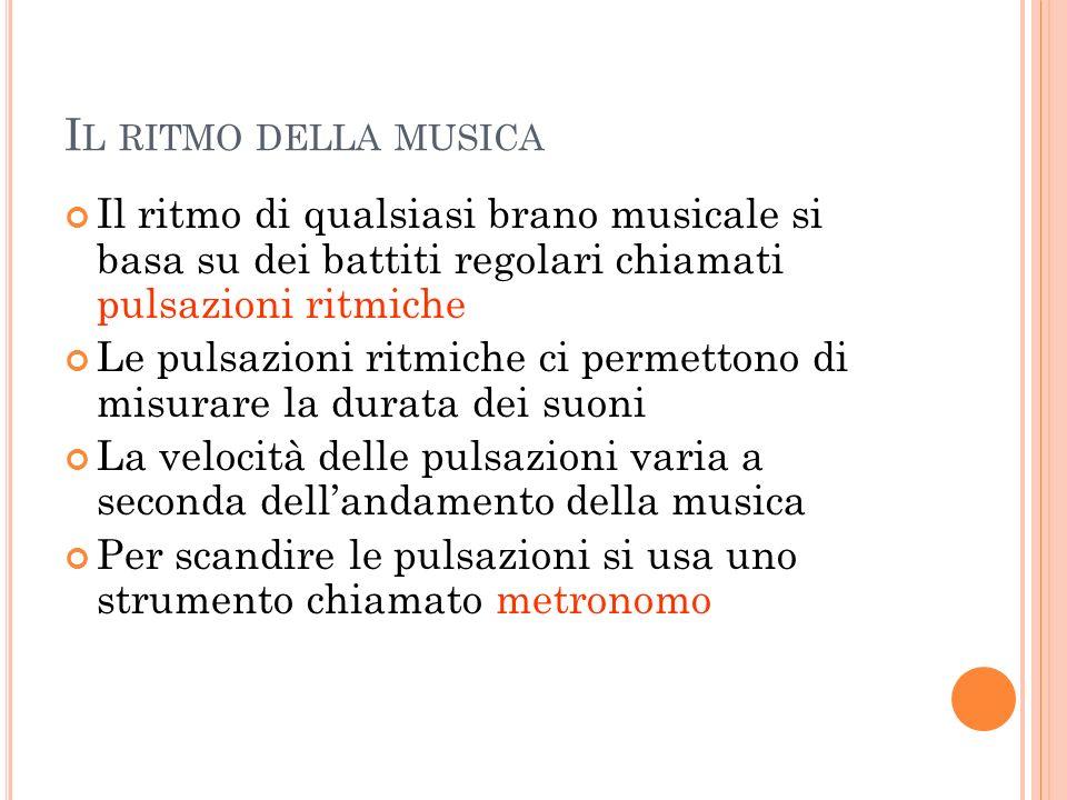 I L RITMO DELLA MUSICA Il ritmo di qualsiasi brano musicale si basa su dei battiti regolari chiamati pulsazioni ritmiche Le pulsazioni ritmiche ci per