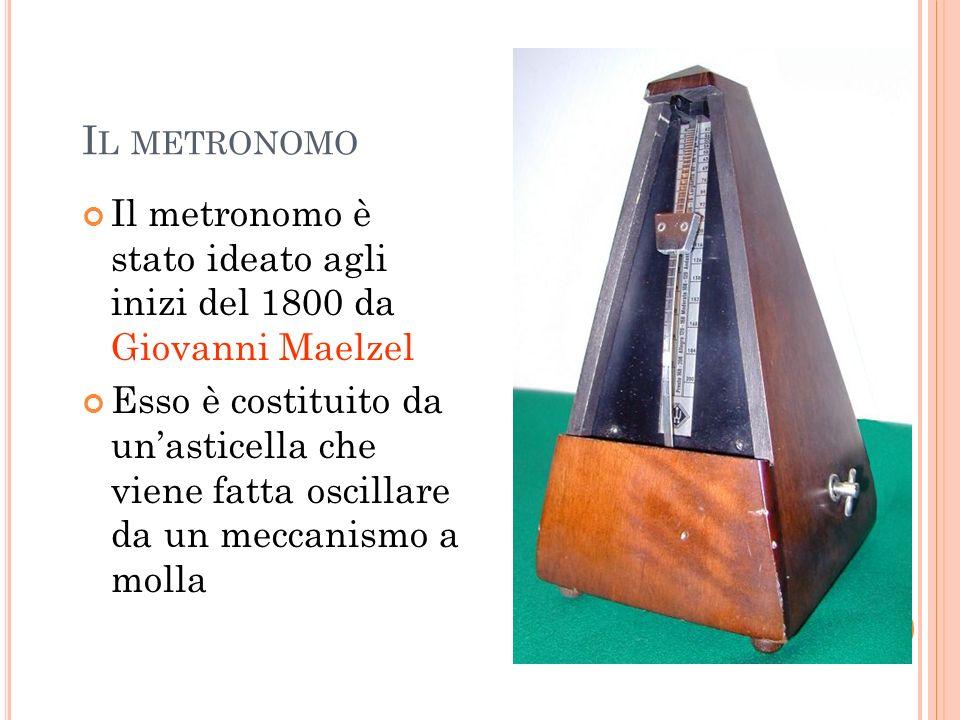 I L METRONOMO Il metronomo è stato ideato agli inizi del 1800 da Giovanni Maelzel Esso è costituito da unasticella che viene fatta oscillare da un mec