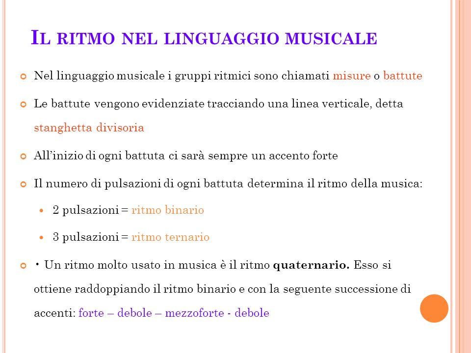 I L RITMO NEL LINGUAGGIO MUSICALE Nel linguaggio musicale i gruppi ritmici sono chiamati misure o battute Le battute vengono evidenziate tracciando un