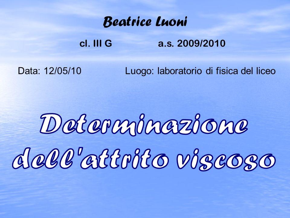 Beatrice Luoni cl. III G a.s. 2009/2010 Data: 12/05/10Luogo: laboratorio di fisica del liceo
