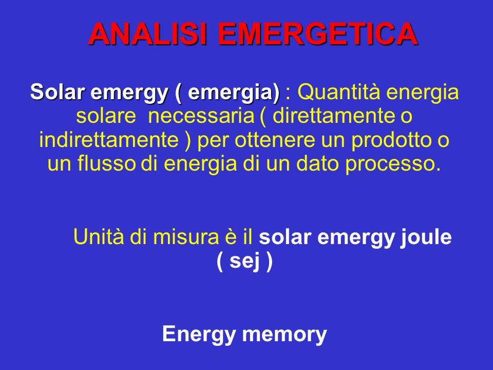 Solar trasformity ( Trasformity) : quantità di energia solare direttamente o indirettamente necessaria per ottenere un joule di energia di un altro tipo o un grammo di un dato prodotto.