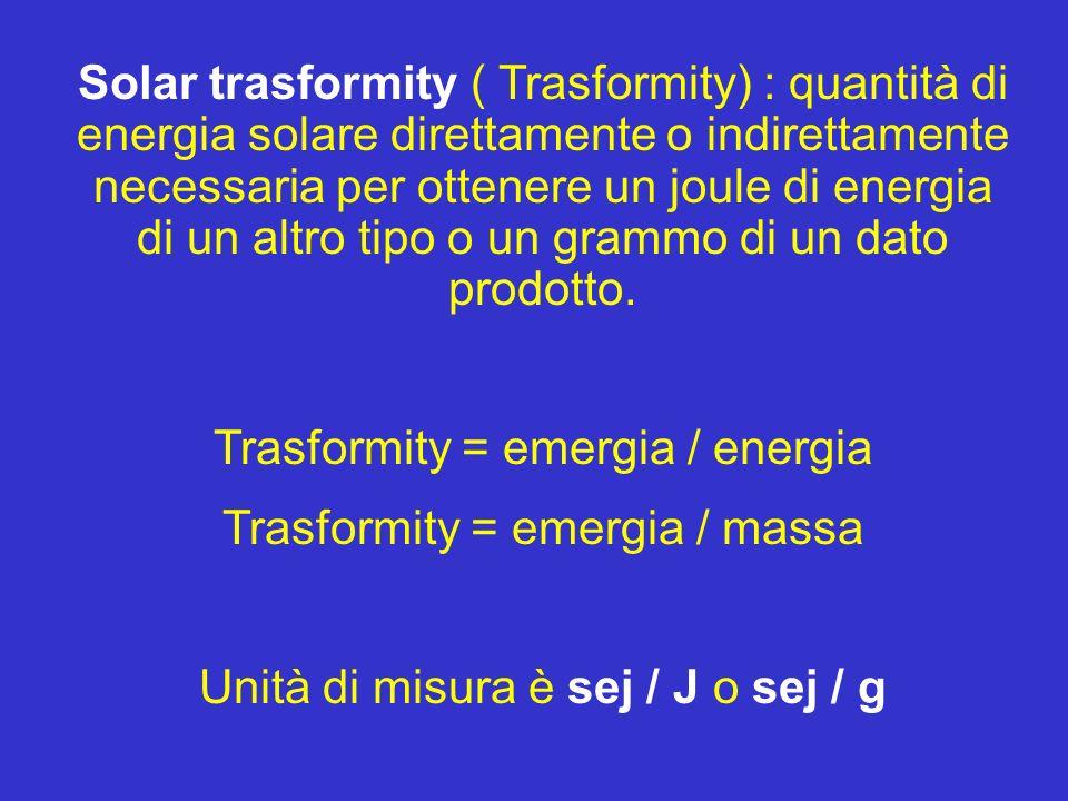 Emergia/ exergia EmergiaEmergia è un approccio che valuta la qualità dellenergia sulla base di ciò che è necessario per la costituzione di un prodotto.