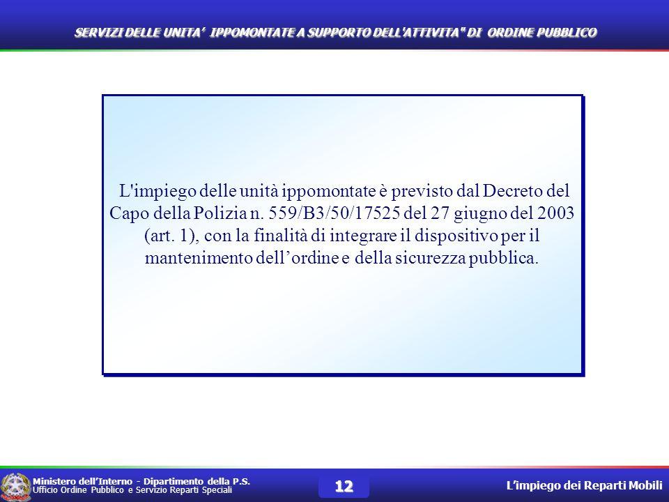 Ministero dellInterno - Dipartimento della P.S. Ufficio Ordine Pubblico e Servizio Reparti Speciali Limpiego dei Reparti Mobili 12 L'impiego delle uni