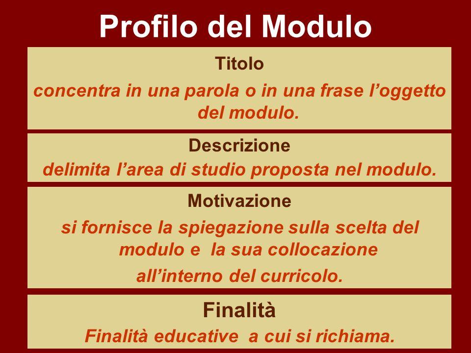 Profilo del Modulo Titolo concentra in una parola o in una frase loggetto del modulo. Descrizione delimita larea di studio proposta nel modulo. Motiva