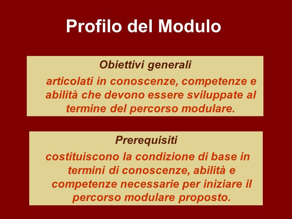 Obiettivi generali articolati in conoscenze, competenze e abilità che devono essere sviluppate al termine del percorso modulare. Prerequisiti costitui