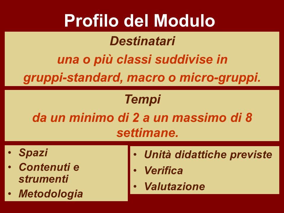 Spazi Contenuti e strumenti Metodologia Destinatari una o più classi suddivise in gruppi-standard, macro o micro-gruppi. Tempi da un minimo di 2 a un