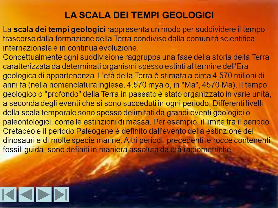 LA SCALA DEI TEMPI GEOLOGICI La scala dei tempi geologici rappresenta un modo per suddividere il tempo trascorso dalla formazione della Terra condiviso dalla comunità scientifica internazionale e in continua evoluzione.