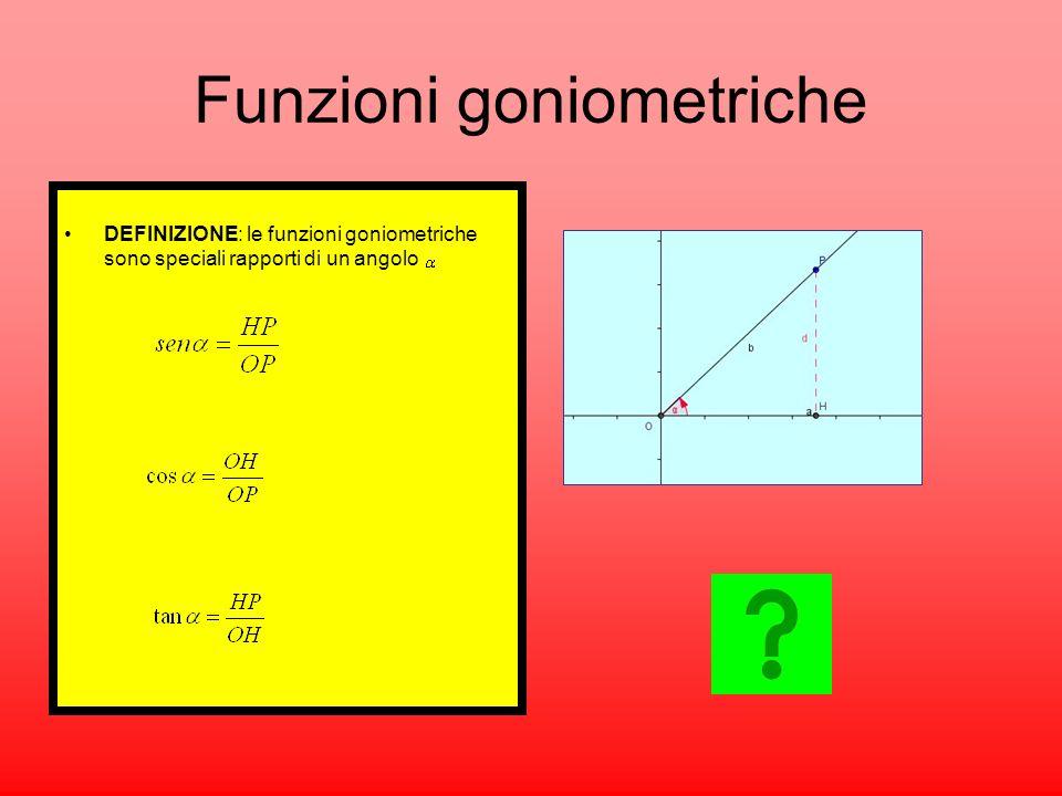 DEFINIZIONE: le funzioni goniometriche sono speciali rapporti di un angolo Funzioni goniometriche