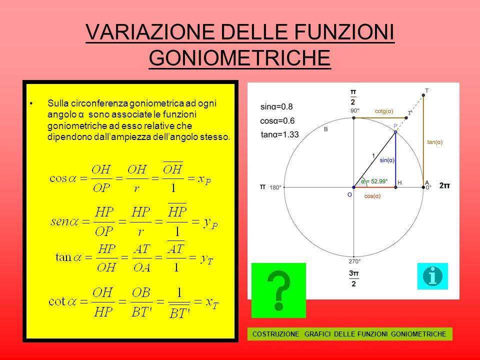 VARIAZIONE DELLE FUNZIONI GONIOMETRICHE Sulla circonferenza goniometrica ad ogni angolo α sono associate le funzioni goniometriche ad esso relative ch