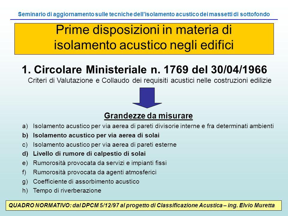 QUADRO NORMATIVO: dal DPCM 5/12/97 al progetto di Classificazione Acustica – ing. Elvio Muretta 1. Circolare Ministeriale n. 1769 del 30/04/1966 Crite