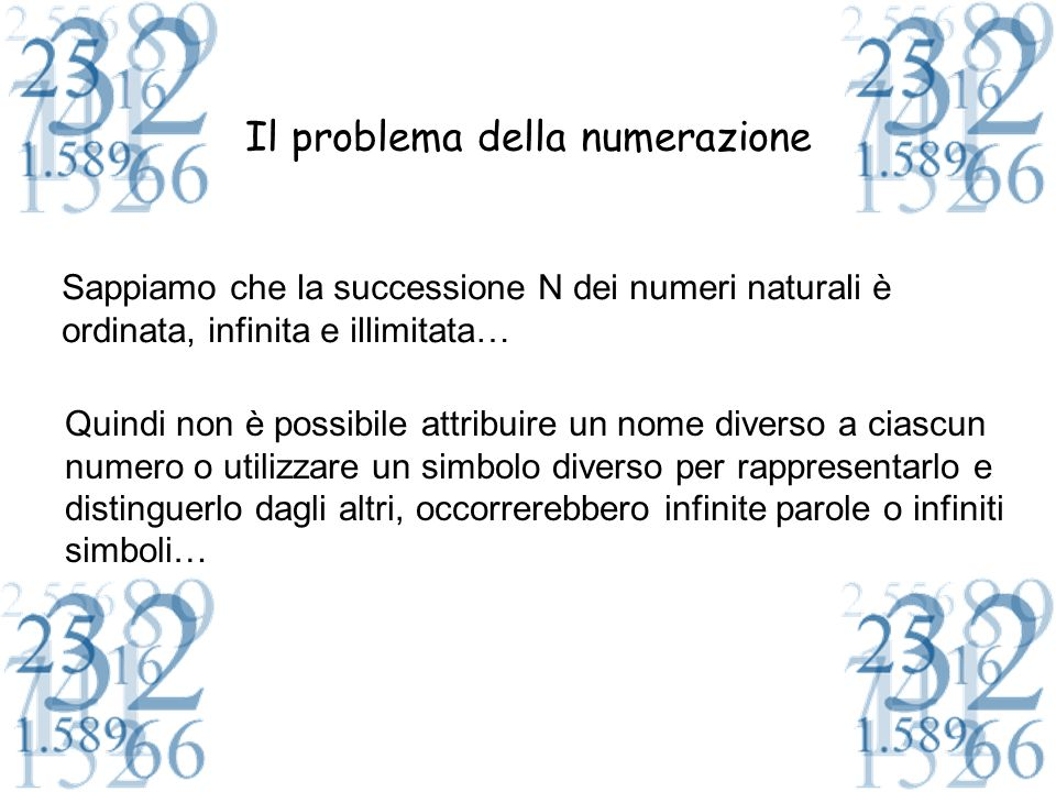 Il problema della numerazione Il problema fondamentale della numerazione è dunque: Trovare un insieme ordinato e finito di b simboli distinti che rappresentano alcuni numeri Naturali e rappresentare nel modo più semplice possibile tutti gli altri numeri con questi simboli Il numero b si chiama base I b elementi si chiamano cifre