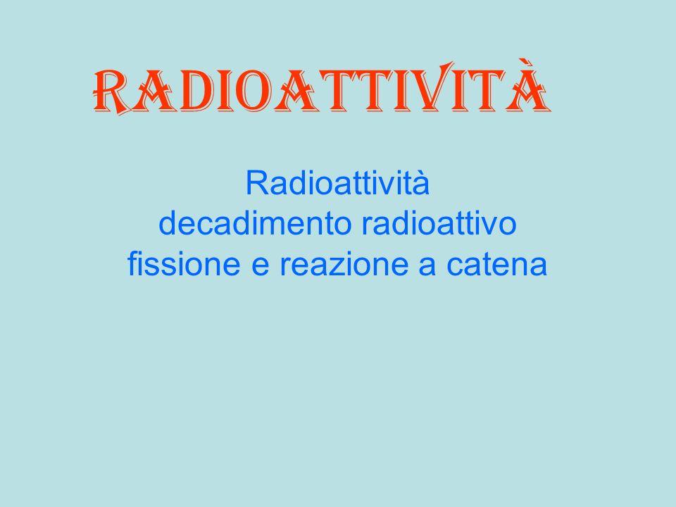 radioattività Radioattività decadimento radioattivo fissione e reazione a catena