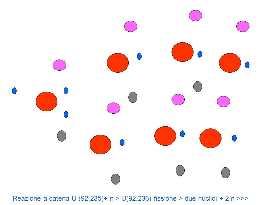 Reazione a catena U (92,235)+ n > U(92,236) fissione > due nuclidi + 2 n >>>