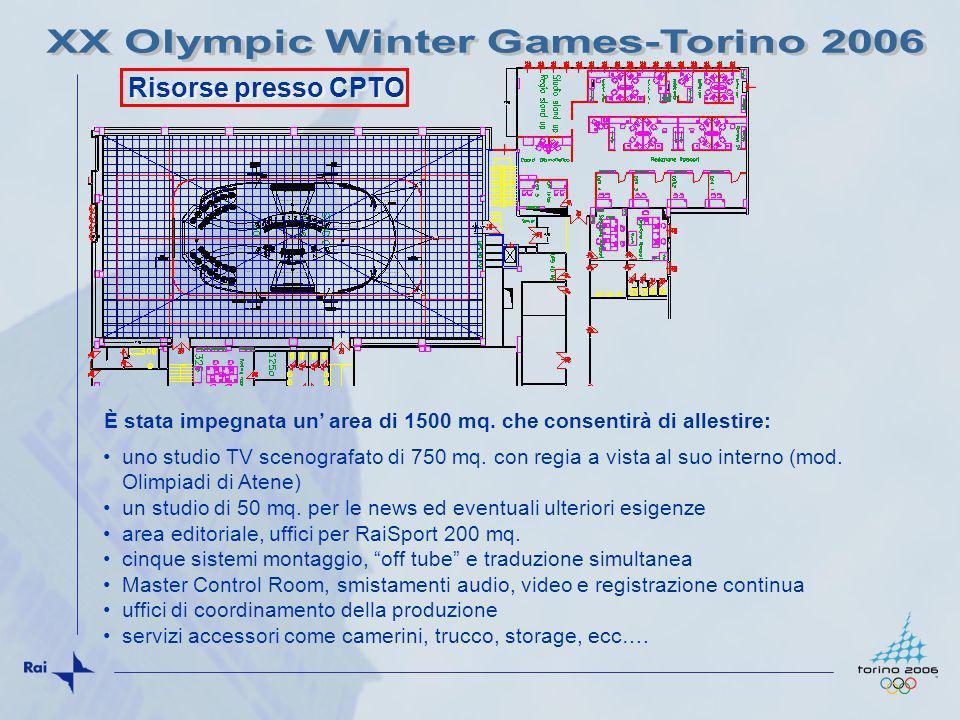 Risorse presso CPTO uno studio TV scenografato di 750 mq. con regia a vista al suo interno (mod. Olimpiadi di Atene) un studio di 50 mq. per le news e
