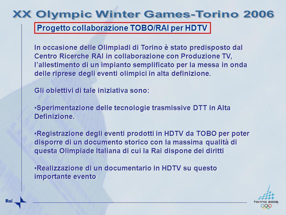 Progetto collaborazione TOBO/RAI per HDTV In occasione delle Olimpiadi di Torino è stato predisposto dal Centro Ricerche RAI in collaborazione con Pro