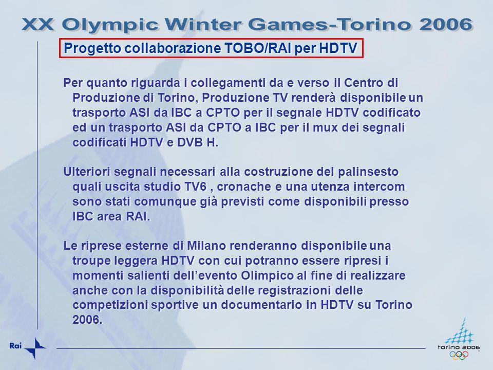 Progetto collaborazione TOBO/RAI per HDTV Per quanto riguarda i collegamenti da e verso il Centro di Produzione di Torino, Produzione TV renderà dispo