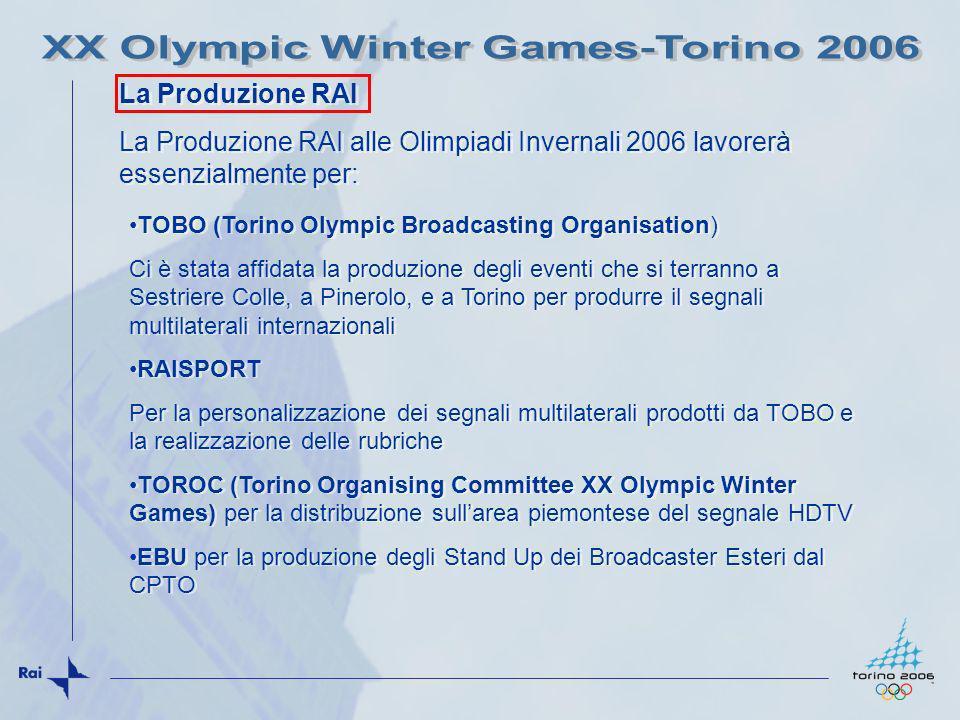 Le attività produttive della RAI si svolgeranno: CPTO (Via Verdi), studio e facilities tecniche e redazioni per RAISPORT, attestamento collegamenti da e per IBC, HDTV e Stand up EBU IBC (Lingotto Torino) Sestriere Colle TOBO Sci alpino RAISPORT studio TV a Condominio Kandahar Torino Stadio per TOBO (cerimonie apertura e chiusura) Torino Piazza Castello per TOBO (medagliere) Pinerolo per TOBO (curling) Casa Italia per RAISPORT da definire (Castello del Valentino) Le attività produttive della RAI si svolgeranno: CPTO (Via Verdi), studio e facilities tecniche e redazioni per RAISPORT, attestamento collegamenti da e per IBC, HDTV e Stand up EBU IBC (Lingotto Torino) Sestriere Colle TOBO Sci alpino RAISPORT studio TV a Condominio Kandahar Torino Stadio per TOBO (cerimonie apertura e chiusura) Torino Piazza Castello per TOBO (medagliere) Pinerolo per TOBO (curling) Casa Italia per RAISPORT da definire (Castello del Valentino) La Produzione RAI - DOVE