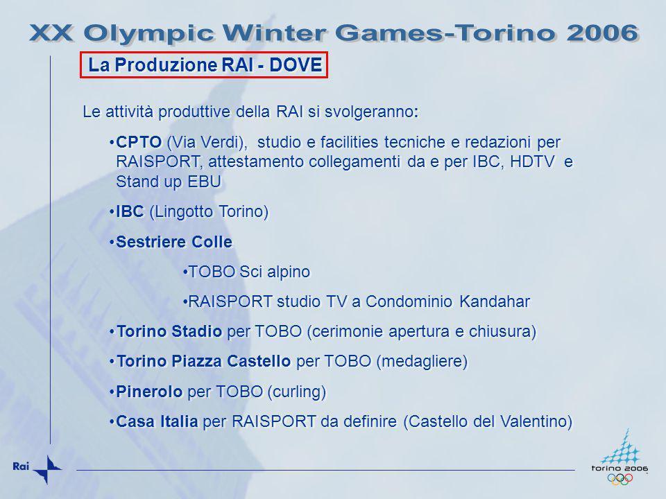 Sestriere Colle SCI ALPINO: slalom gigante maschile; slalom maschile; slalom gigante femminile; slalom femminile; combinata speciale maschile; combinata speciale femminile, rappresenta la venue più importante e la località più alta dei Giochi, con i suoi 2035 metri slm (3 OBVan) Torino stadio comunale: Cerimonia di Apertura e Cerimonia Chiusura 10-26 febbraio 2006 con mezzi HDTV di TOBO e personale RAI Torino, Piazza Castello Medagliere Olimpico, con mezzi HDTV di TOBO e personale RAI Pinerolo: CURLING torneo maschile e femminile (2 Super Bilici e assistenza tecnica RAI, personale di produzione CBC CANADA) Sestriere Colle SCI ALPINO: slalom gigante maschile; slalom maschile; slalom gigante femminile; slalom femminile; combinata speciale maschile; combinata speciale femminile, rappresenta la venue più importante e la località più alta dei Giochi, con i suoi 2035 metri slm (3 OBVan) Torino stadio comunale: Cerimonia di Apertura e Cerimonia Chiusura 10-26 febbraio 2006 con mezzi HDTV di TOBO e personale RAI Torino, Piazza Castello Medagliere Olimpico, con mezzi HDTV di TOBO e personale RAI Pinerolo: CURLING torneo maschile e femminile (2 Super Bilici e assistenza tecnica RAI, personale di produzione CBC CANADA) La Produzione RAI per TOBO Circa 100 unità di personale produzione La Produzione RAI per TOBO Circa 100 unità di personale produzione