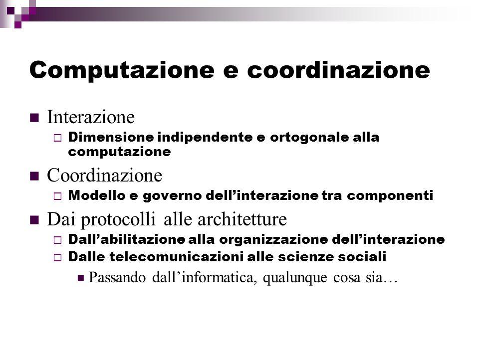 Computazione e coordinazione Interazione Dimensione indipendente e ortogonale alla computazione Coordinazione Modello e governo dellinterazione tra co