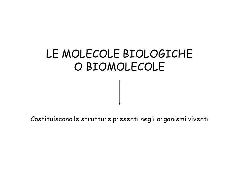 LE MOLECOLE BIOLOGICHE O BIOMOLECOLE Costituiscono le strutture presenti negli organismi viventi