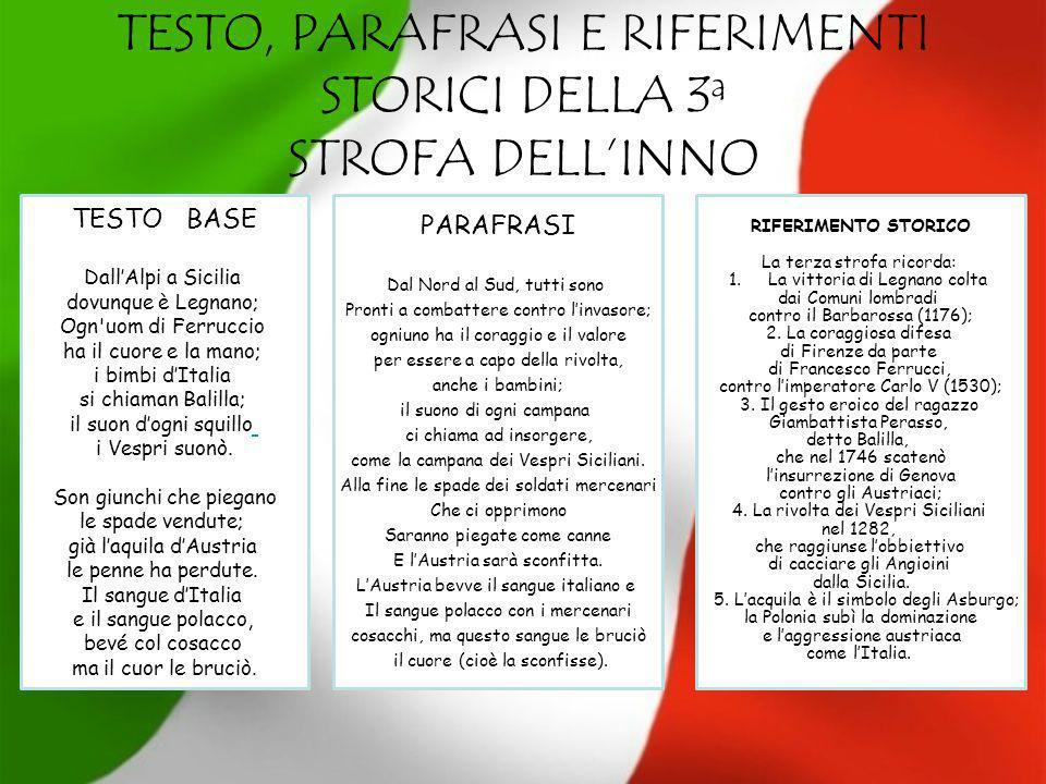 TESTO, PARAFRASI E RIFERIMENTI STORICI DELLA 3 a STROFA DELLINNO TESTO BASE DallAlpi a Sicilia dovunque è Legnano; Ogn'uom di Ferruccio ha il cuore e